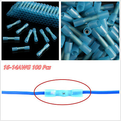 100 Pcs Blue Insulated Heat Shrink Butt Wire Electrical Crimp Terminal Connector