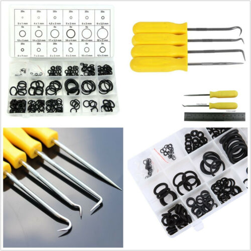 225 Pcs 18 Sizes Car O-Ring Seal Gasket & Portable 4 Pcs Remover Puller Hook Kit