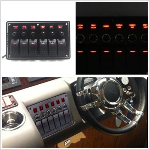 3-Pin 6 Gang Car Marine Red LED Rocker Switch Panel Circuit Breakers Charger Kit