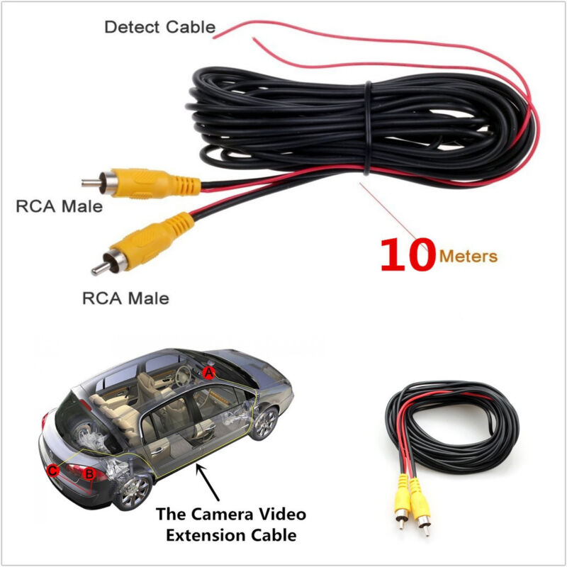 10m RCA Car Autos Reverse Parking Camera Video Extend Cable With Detection Wire