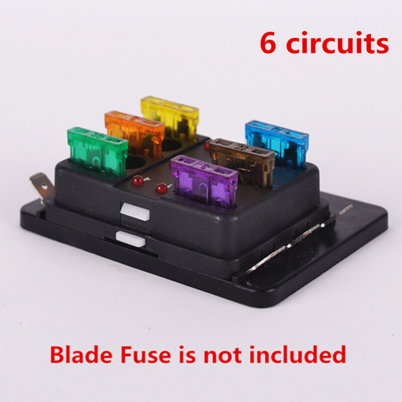 6Way 12V/24V Car SUV Truck Van Circuit Standard ATO Blade Fuse Box Fuse Holder