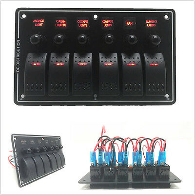 12-24v 6 Red Led 3pin 6 Gang Vehicles Off-road Rocker Combination Switch Panel