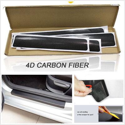 4Pc 4D Carbon Fiber Car Door Plate Sill Scuff Cover Anti Scratch  Sticker For US