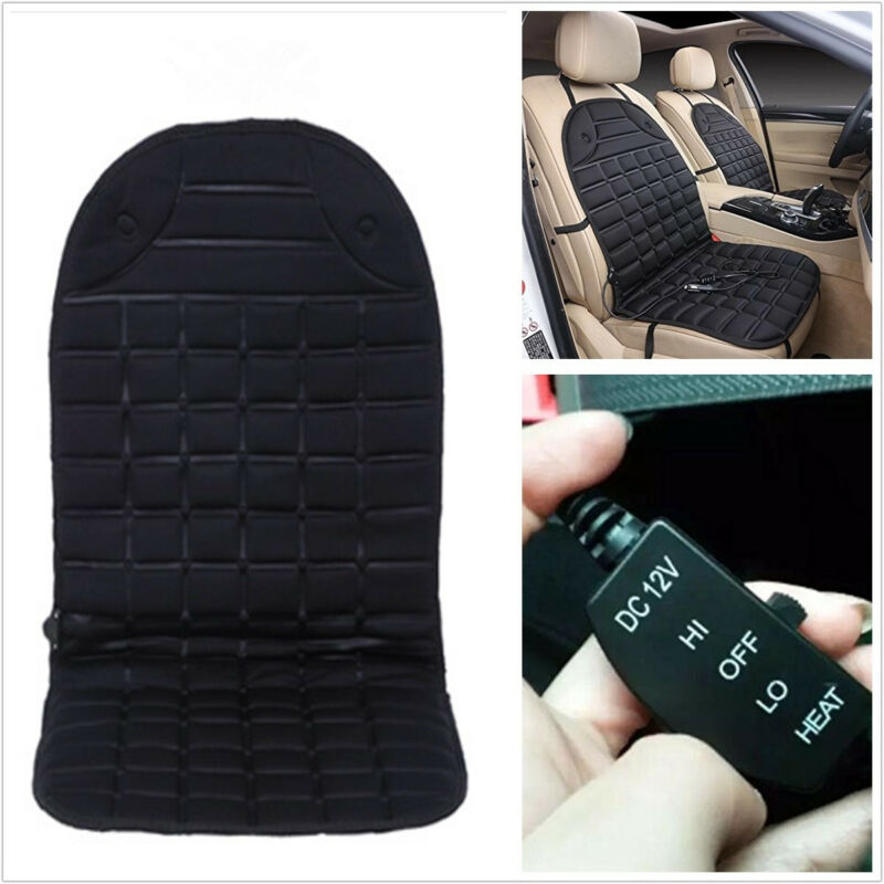 12V Black Car Interior Winter Heated Front Seat Cover Pad Thermal Cushion Pillow