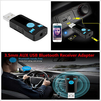 Car USB Bluetooth Adapter 3.5mm AUX Receiver For Stereo Audio Hands-free