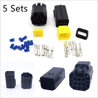 5 Sets Kit Automotive SUV 6 Pin Amp Sealed Wire Connector Plug Modification Tool