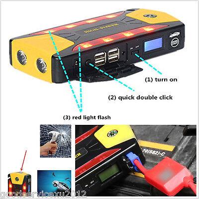 High Power 82800mAh 4-USB Car Jump Starter Emergency Charger Battery Compass Kit