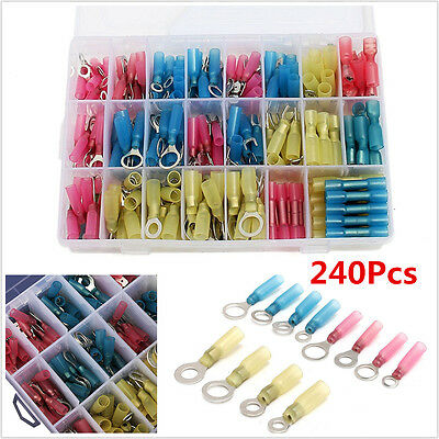 240pc Heat Shrink Wire Connector Kit Marine Automotive Terminals Set Waterproof