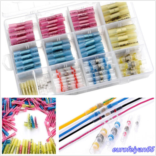 210 Pcs Mixed Size Solder Seal Butt Connectors Heat Shrink Wire Cable Terminals