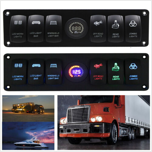 Waterproof 6 Gang Car Marine Blue LED Rocker Switch Panel & Voltmeter & Dual USB