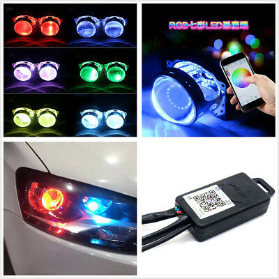 Bluetooth Remote 12V Multi-Color LED Car Demon Eye Halo Ring Headlights Retrofit