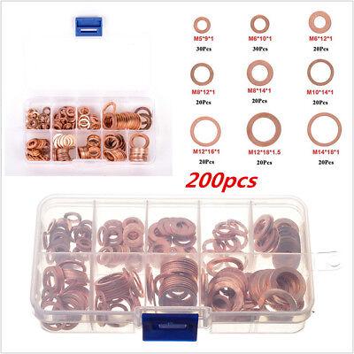 200pcs 9 Size copper solid sealing crush washer slump brake banjo Oil Drain Plug