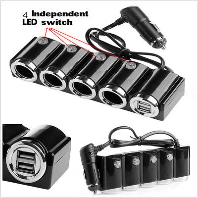 4 Way Multi Socket Car Cigarette Lighter Splitter 2 USB Plug Charger DC 12V24V