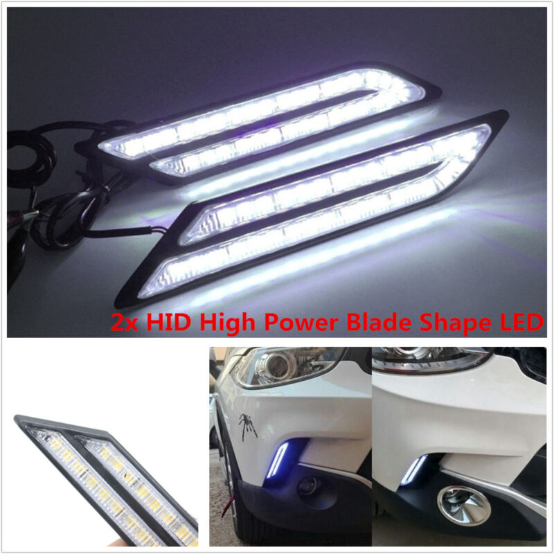 1Pair LED HID White High Power Blade Shape DRL Daytime Running Lights Waterproof
