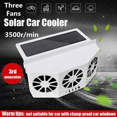 Solar Powered Car Auto Air Vent Cool 3-Fan Cooler Ventilation System Radiator