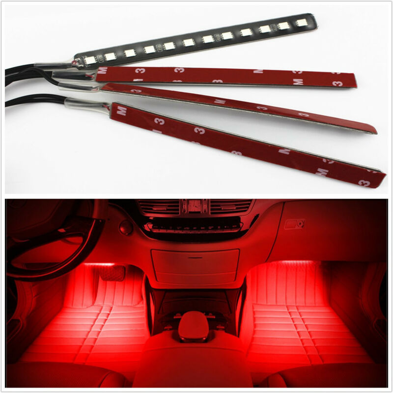 4Pcs RED 12 LED Car SUV 12V Footwell Interior Floor Decorative Atmosphere Lights