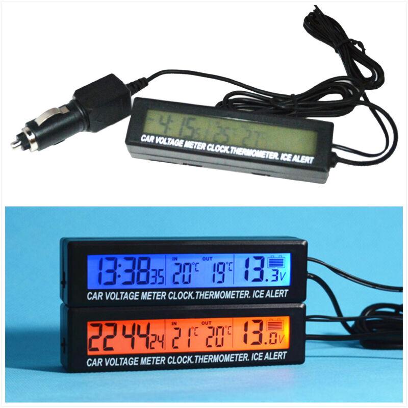 Car SUV LCD Screen Digital Time Clock Voltmeter Thermometer Meter Alarming Gauge
