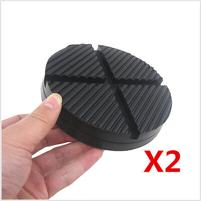 2x Cross Slotted Frame Rail Floor Jack Disk Rubber Pad Adapter Pinch Weld Side