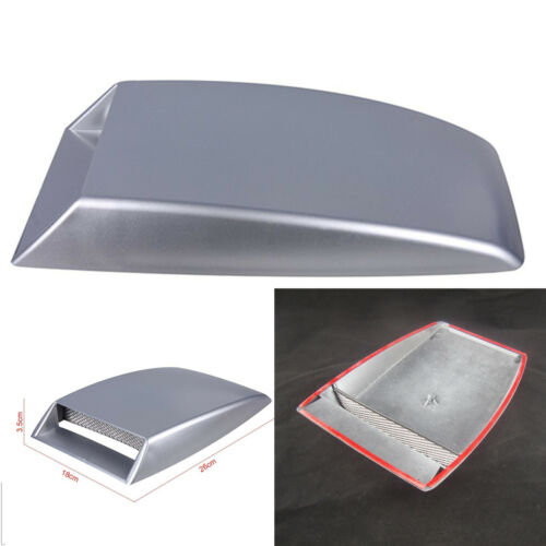 Silver 3D Air Flow Intake Vent Cover Car Front Hood Cover Simulation Decorative