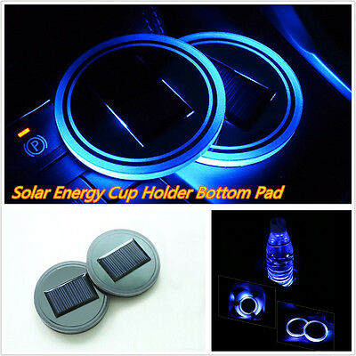 2 Pcs Car Truck Interior Solar Energy Cup Bottle Bottom Holder Pad W  Blue Light
