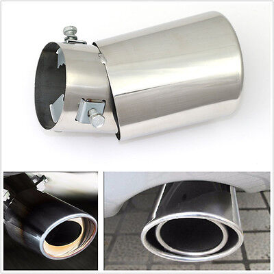 Silver Stainless Steel Vehicle Round Exhaust Tail Muffler Tip Pipe Diameter 60mm