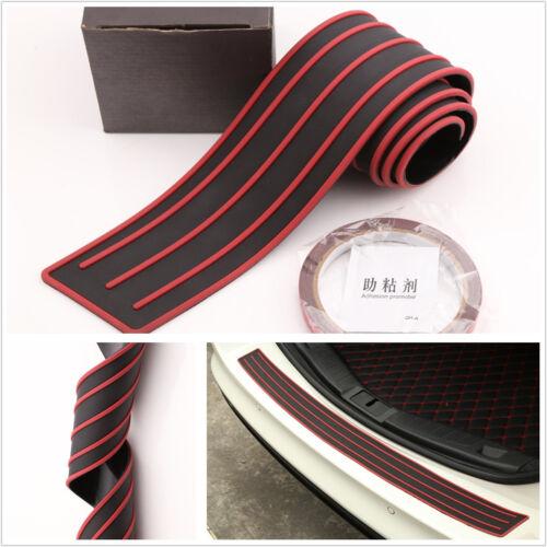 DIY 90*8cm Car SUV Rear Bumper Sill/Protector Plate Rubber Cover Pad Red&Black