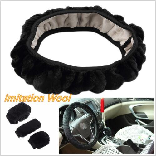3 Pcs/Set Car Off-Road Steering Wheel Cover Woolen Handbrake Accessory Kit Black