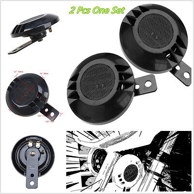 One Pair Black  Basin-shaped Motorcycle Vehicles Electric Classic Air Horn 115DB