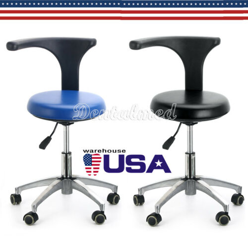 UPS Dental Dentist Assistant Stool Adjustable Height Mobile Rotation Chair PU