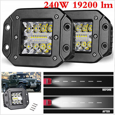 A Pair 240W Spot Flood LED Work Light For Car Truck Off-Road Flush Mount Lights, used for sale  Shipping to Canada