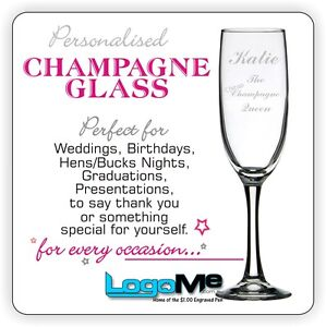 Personalised Engraved 225ml Champagne Glass Flute Wedding Birthday GIFT BOX