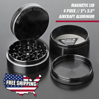 SPACE CASE   100% AUTHENTIC - BLACK TITANIUM - 4 PIECE HERB GRINDER - FREE SHIP](Space Character)