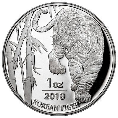 2018 South Korea 1 oz Silver Tiger Coin GEM BU SKU53031
