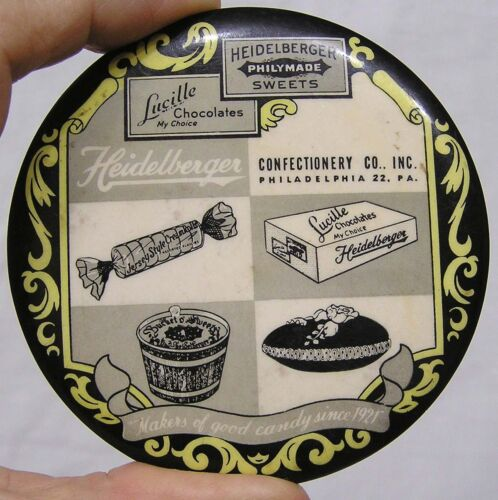 Vintage Advertising Pocket Mirror Paperweight Heidelberger Candy Sweets Graphics