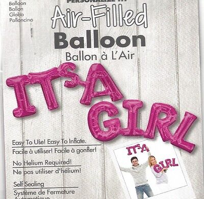IT'S A GIRL PHRASE BABY SHOWER, Air-Filled Balloon, Anagram SEALED PHOTO PROP (Air Balloon Baby Shower)