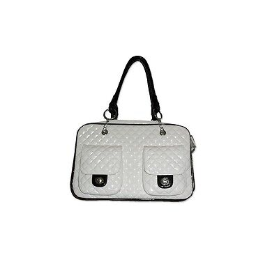 LUXURY FAUX LEATHER WHITE QUILTED TRAVEL DOG CARRIER PURSE BAG FOR PUPPY CAT PET