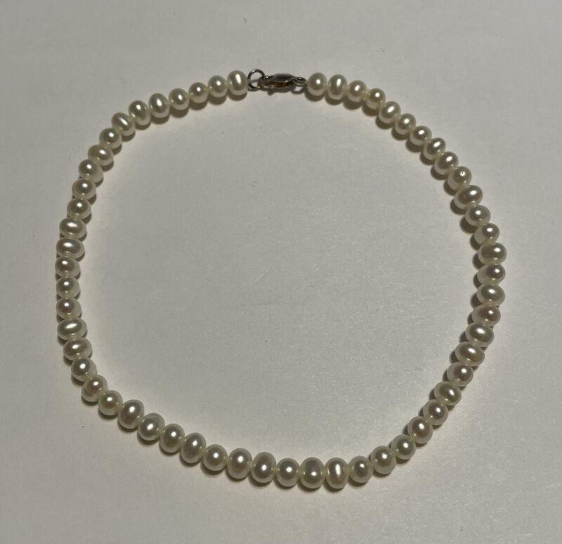 """Sterling Silver Genuine 4.5-5.5mm Pearl Anklet Bracelet 10"""""""
