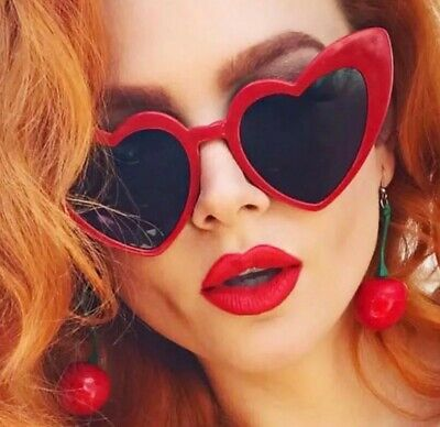 Heart Shaped Trendy Red Heart Frame with Dark Lens (Red Heart Shaped Sunglasses)