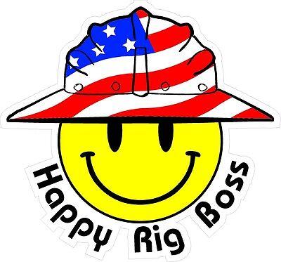 3 - Happy Rig Boss Smiley Usa Hardhat Oilfield Helmet Toolbox Sticker H885