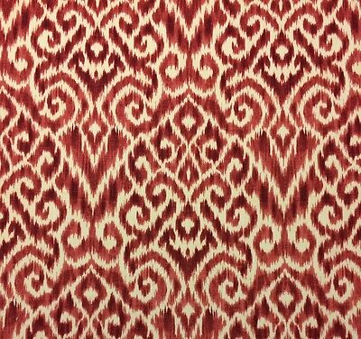 Ballard Designs Kirby Red Ikat Designer Multiuse Linen Fabric By The Yard 55 W