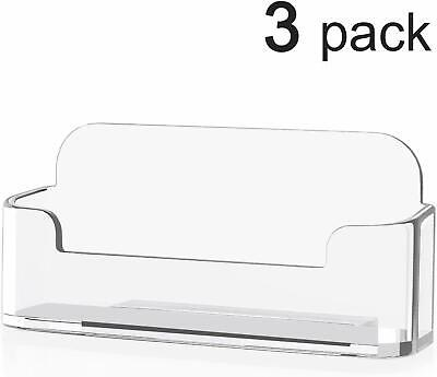 3 Acrylic Business Card Holder For Desk Business Card Display3.8 X 1.9 X 1.4 In
