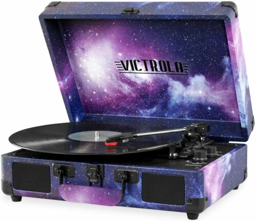 Victrola Record Player Vintage 3-Speed Bluetooth Suitcase Turntable - Galaxy