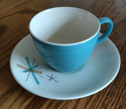Salem North Star Vintage Mid Century Blue Cup And Saucer w/Star Set