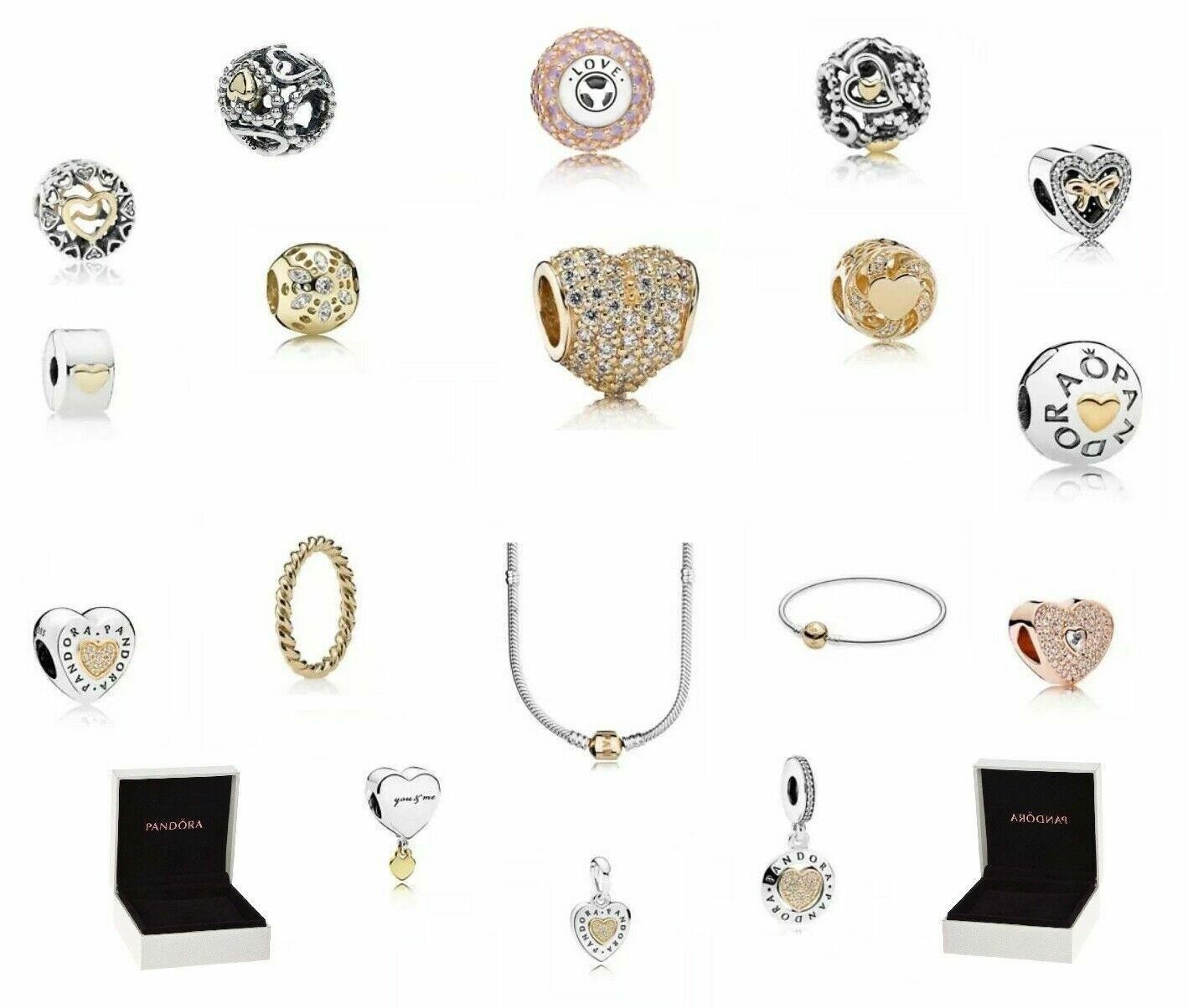 Original Pandora Schmuck Element Charm Ring Kette Armband Armreif Gold Silber