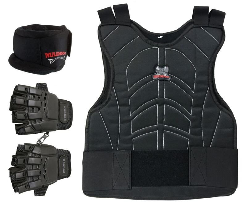 Maddog Tactical Half Finger Glove Chest Protector and PRO Neck Combo Black LXL