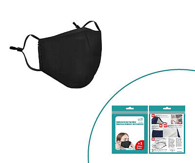 3x Baumwoll-Gesichtsmaske+1 Aktivkohle Filter, Mehrweg Mundschutz Gesichtsmaske