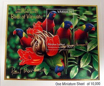 1999 VANUATU RAINBOW LORIKEET STAMPS SOUVENIR SHEET PARROT BIRD BIRDS WILDLIFE