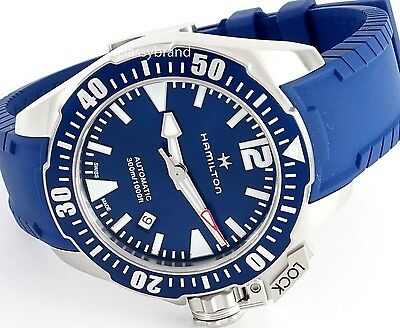 Hamilton H77705345 Khaki Navy Frogman Automatic Blue Dial Men's Watch -NEW