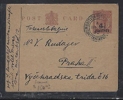 BRITISH LEVANT, TURKEY  (P1708B)  GB KGV 4 1/2P/ 1 1/2D PSC TO CZECHOSLOVAKIA