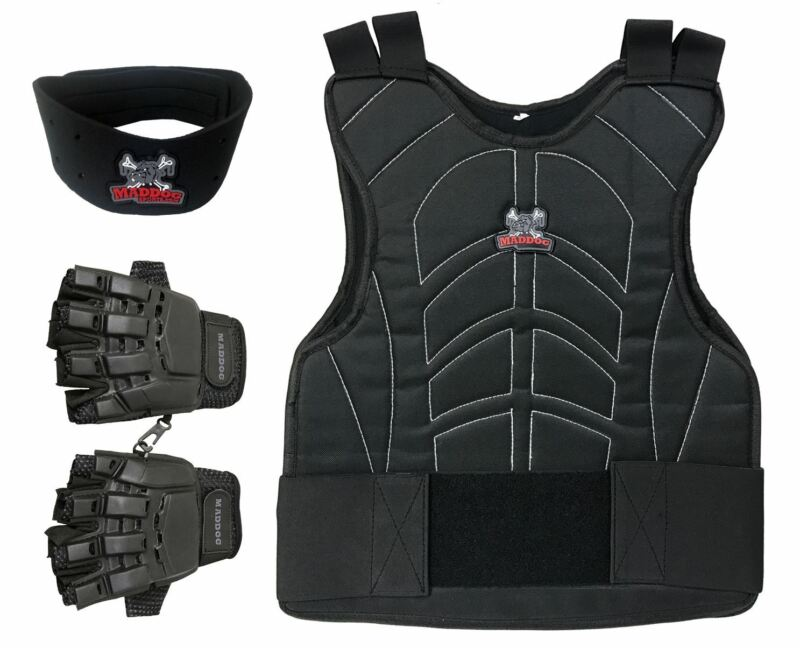 Maddog Tactical Half Finger Glove Chest Protector and Neck Combo Trio Black SMD